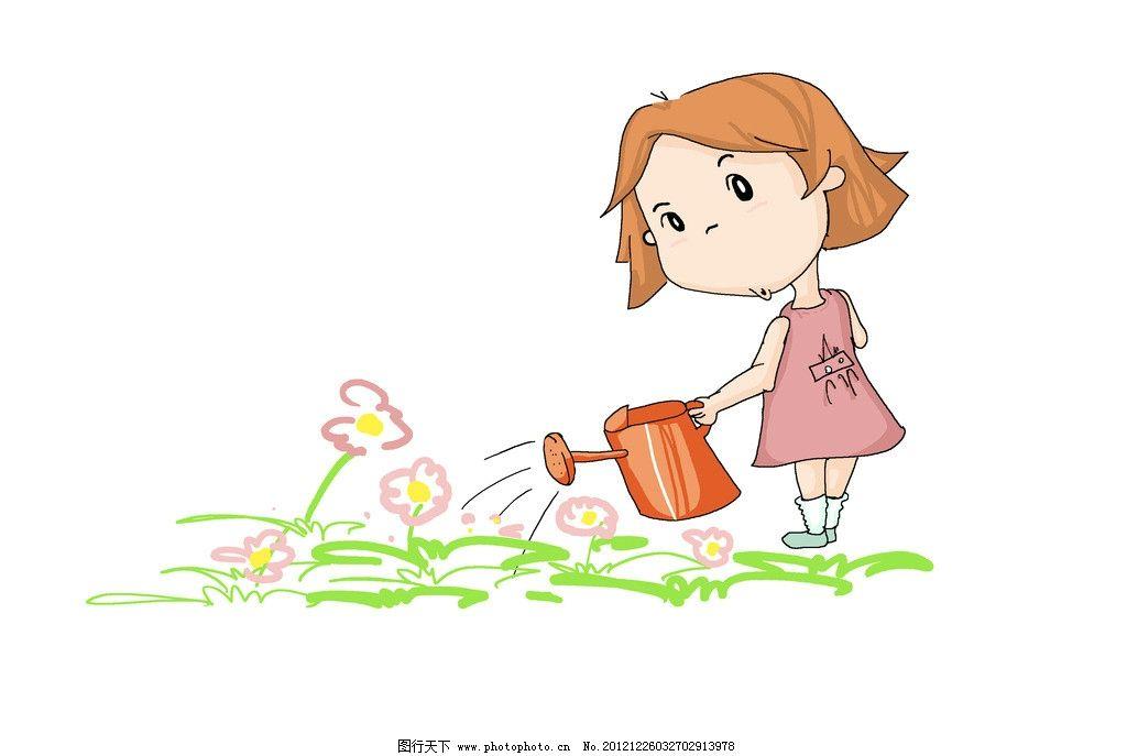 小朋友浇花图片
