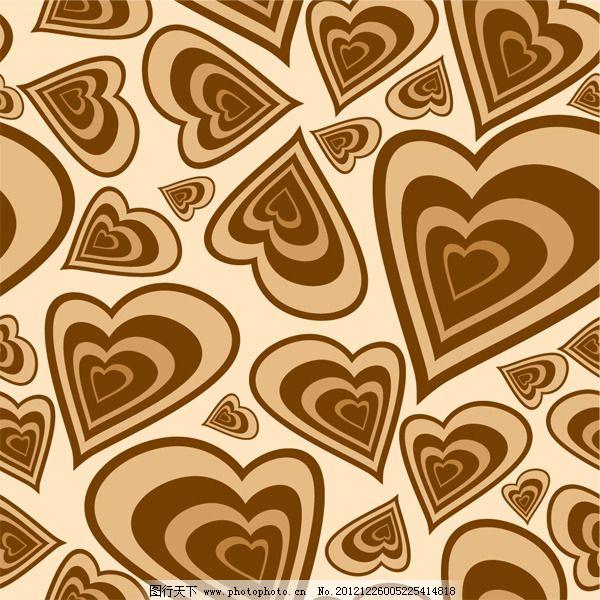 矢量手绘爱心背景花纹免费下载 背景 矢量素材 心形 心形花纹 心形