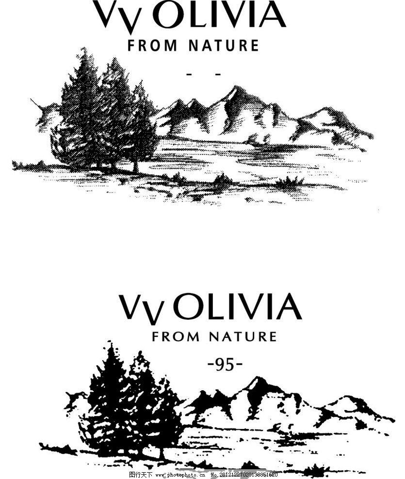自然风景 网点 山水 树木 英文 商标 吊卡 尺寸 矢量 其他 标识标志图片