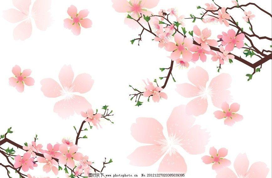 桃花飘零 花朵花卉 时尚 树枝树叶 粉红桃花 花瓣 移门图案 花纹花边