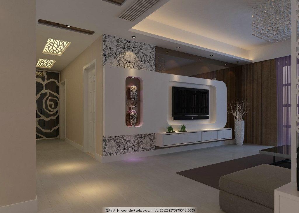 室内客厅装饰 吊顶 花灯 镂空 电视墙 墙纸 过道 室内设计 环境设计