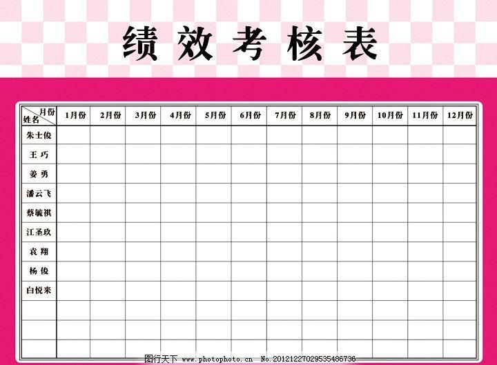 考核表 考核 表 绩效 表格 月份 简约 玫红 广告设计 矢量 ai