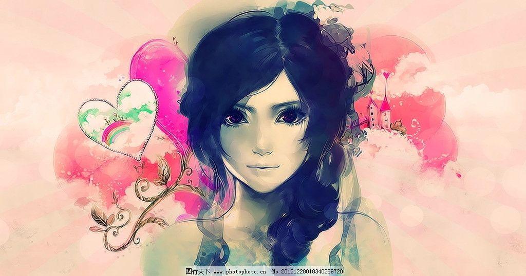 手绘美女 手绘 美女 少女 粉色 长发 颜色 可爱 cg 壁纸 cg美女 动漫