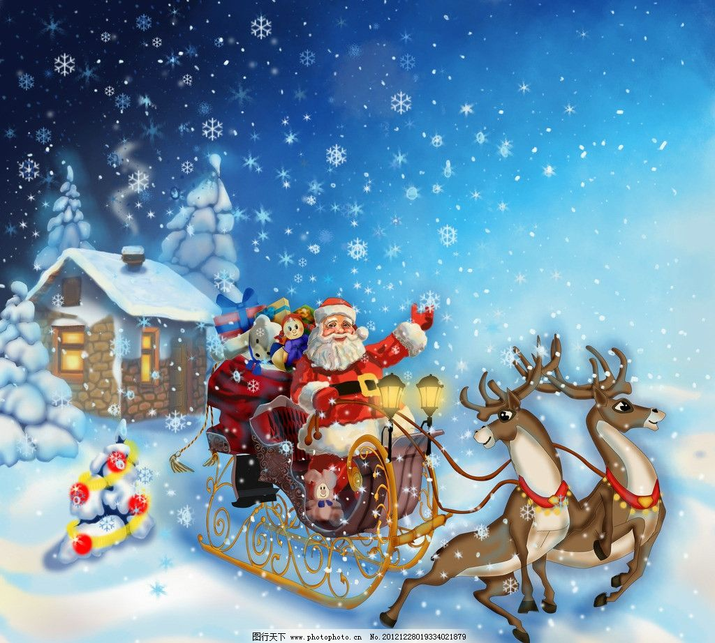 design 圣诞老人和麋鹿简笔画内容圣诞老人和麋鹿简笔画  训鹿和雪橇图片