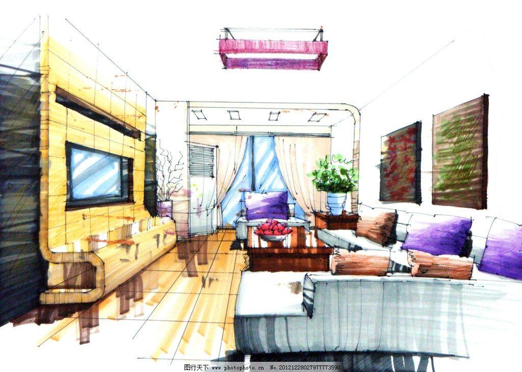 手绘效果图 环境设计 室内设计      电视背景墙 电视 沙发 现代沙发