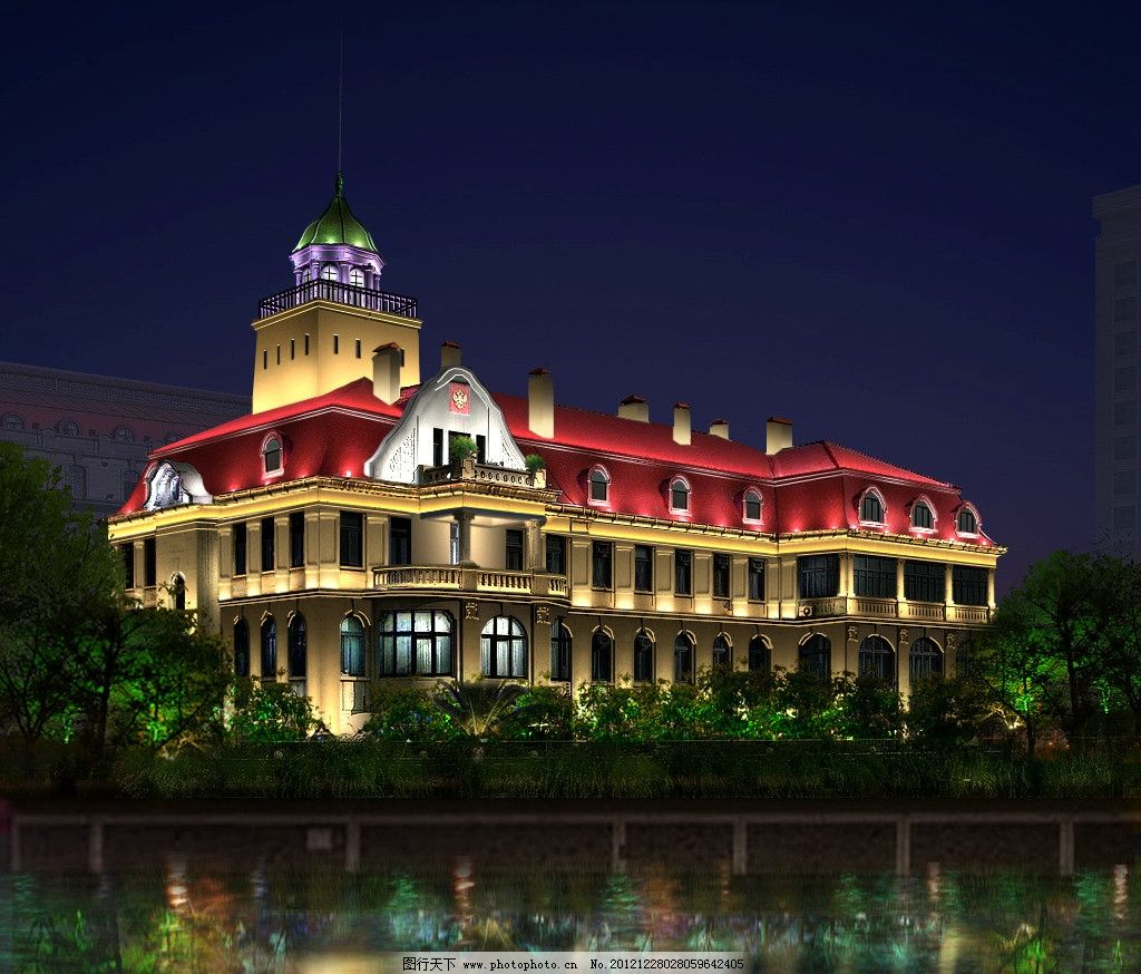欧式建筑夜景效果图 商办楼夜景效果图 绿化照明 建筑 楼房 楼房亮化