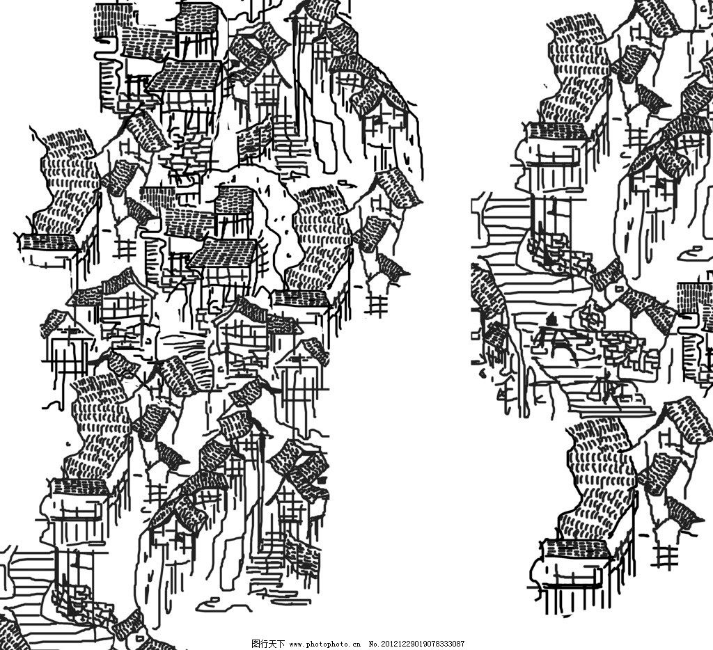 重庆山城线描图图片