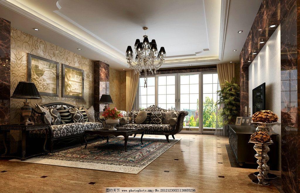 欧式客厅3d效果图图片