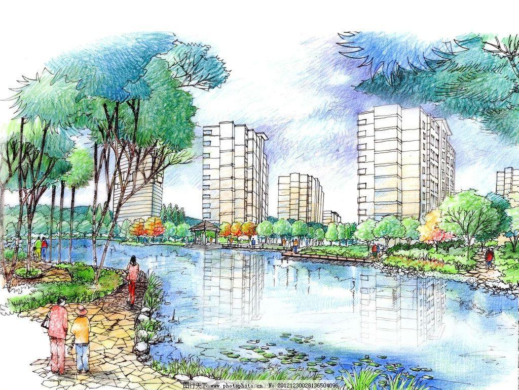 景观设计  手绘景观设计 景观设计 效果图 花草 树木 园路设计 水景