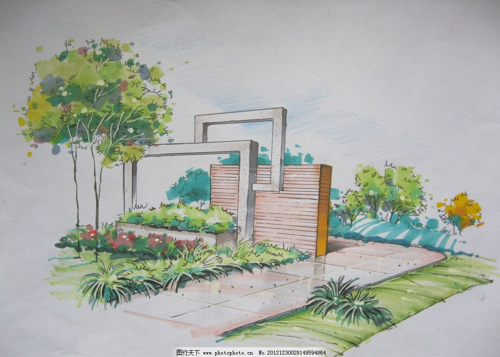 手绘景观设计 景观设计        花草 树木 景墙 园路设计 环境设计
