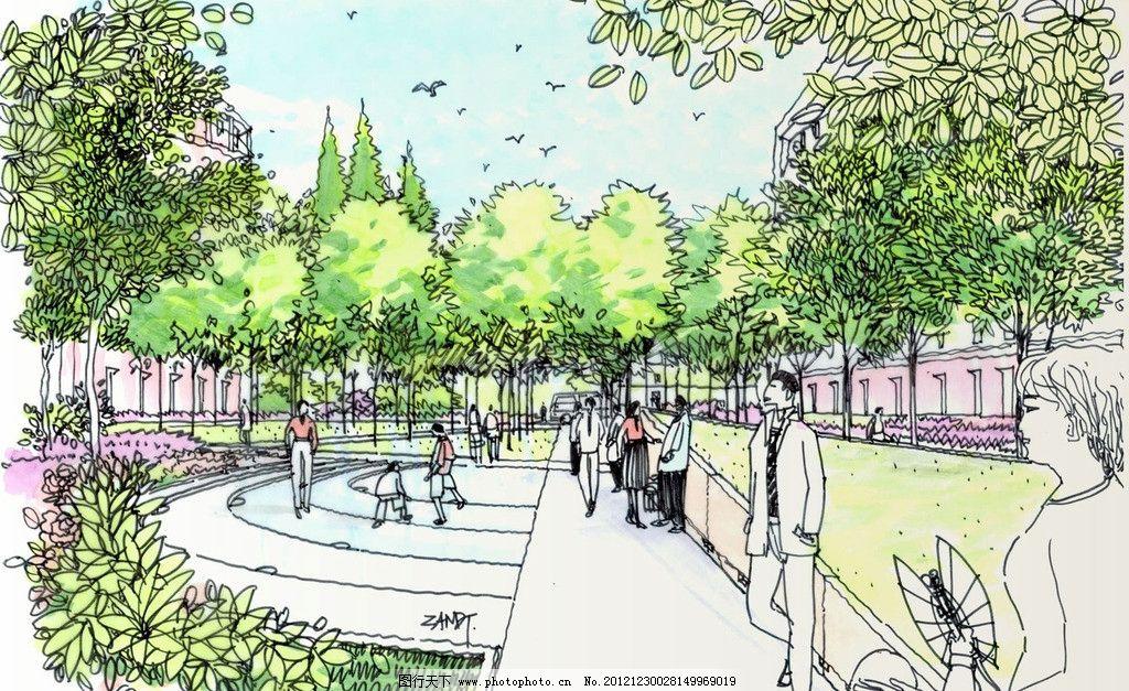 手绘景观设计图片,效果图 花草 树木 街景 休闲广场
