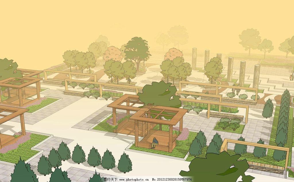 景观设计图片,效果图 廊架 花坛 树池 广场景观-图行