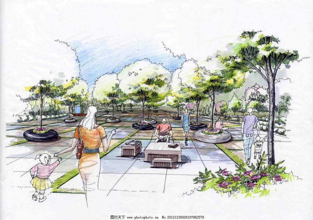 景观设计        廊架 花坛 树 广场 景观 环境设计 设计 72dpi jpg