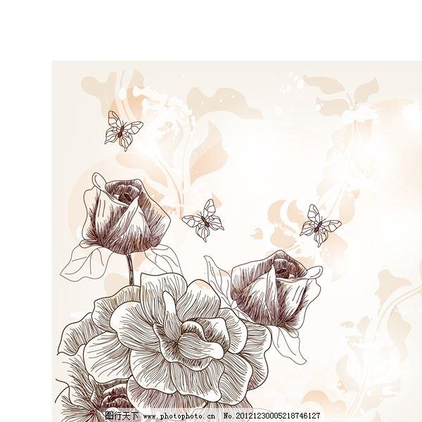 矢量手绘花朵线稿背景素材