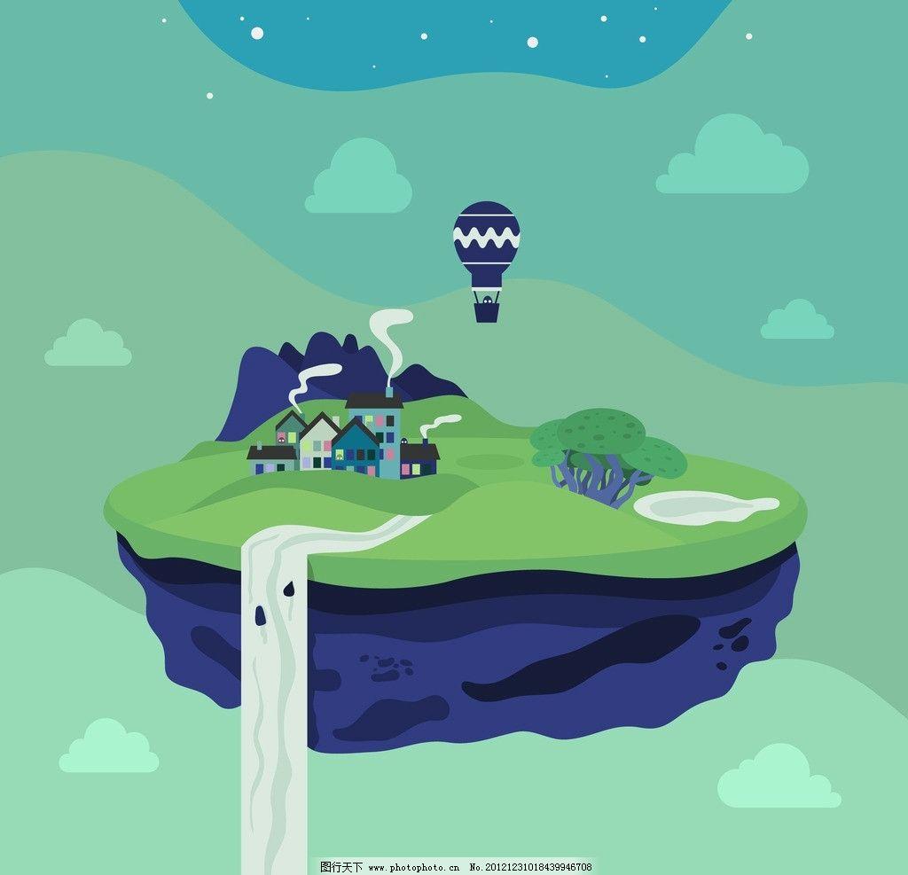 山村 村莊 瀑布 炊煙 熱氣球 古樸 農莊 風景漫畫 動漫動畫 設計 200
