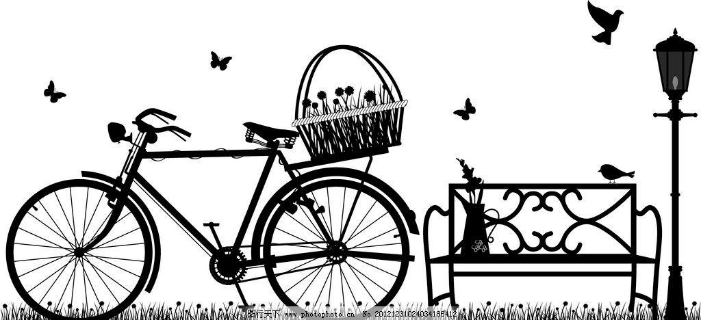 自行车风景剪影图片