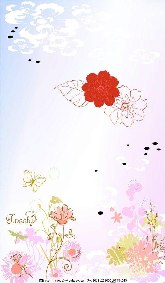 移门 唯美 花朵 红花 叶子 唯美风景 矢量花 紫色花 梦幻 蝴蝶 圆圈